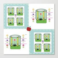 backpack Canvas Prints featuring Backpack  Quilt -Apple by Drape Studio