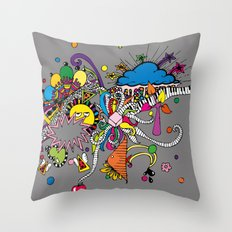 Colored Doodle Throw Pillow