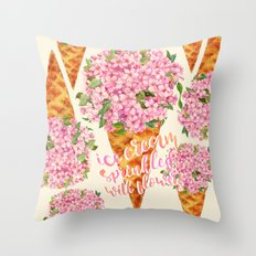 Ice Cream Sprinkled With Flowers Throw Pillow