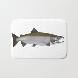 Large Salmon isolated on white background Bath Mat