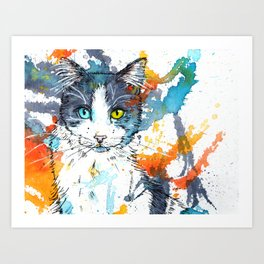 In your Eyes - Colorful cat portrait Art Print