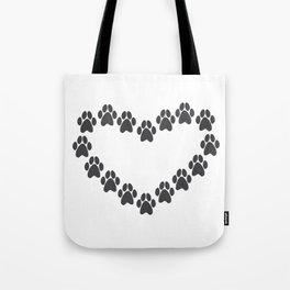 Paw Prints Heart Tote Bag