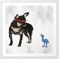 Black tan Chihuahua Dog with chick Art Print