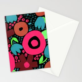 Bold Abstract Floral Inspired Pattern (Red, Orange, Honeysuckle Pink, Blue, Green) Stationery Cards