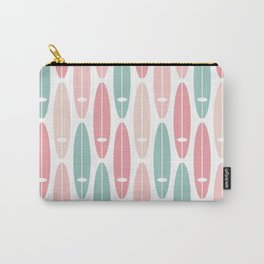 Vintage Surf Boards in Pastel Pink Carry-All Pouch