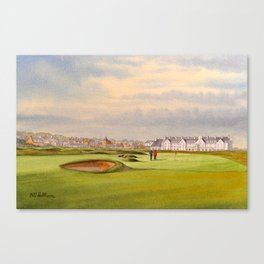 Carnoustie Golf Course Scotland With Clubhouse Canvas Print