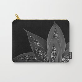 Gray Black Agave with Black Silver Glitter #2 #shiny #tropical #decor #art #society6 Carry-All Pouch