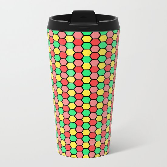 Happy Honeycombs Metal Travel Mug