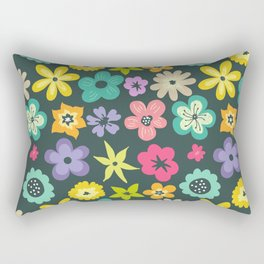 Artistic hand painted teal yellow violet floral illustration Rectangular Pillow