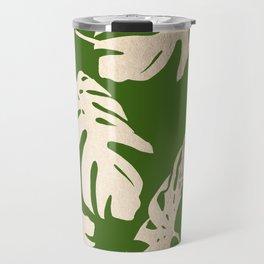 Palm Leaves White Gold Sands on Jungle Green Travel Mug