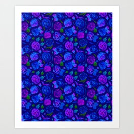 Watercolor Floral Garden in Electric Blue Bonnet Art Print