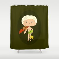 mother of dragons Shower Curtains featuring Dragons' Mother by Sombras Blancas Art & Design