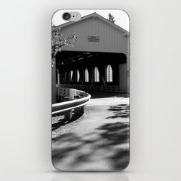 Covered Bridge in Black and White iPhone Skin