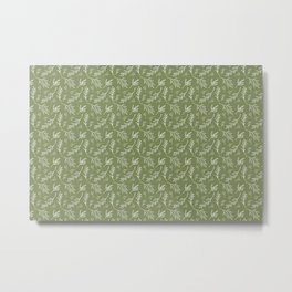 Leafy Botanical Line Art Pattern - Olive Green and White Metal Print