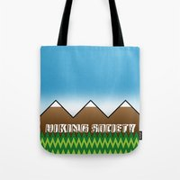 hiking Tote Bags featuring Hiking Society by klausbalzano