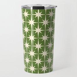 Atomic Age Starbursts - Midcentury Modern Pattern in Cream and Retro Green Travel Mug