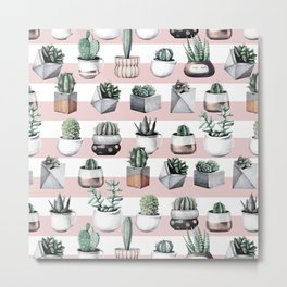 Potted Cactus Stripes Pink Rose Gold Metal Print