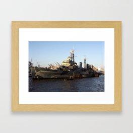 HMS Belfast on the Thames Framed Art Print