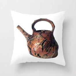 Photograph of Red Stoneware Teapot, Ceramic Art [Rostislav Eismont] Throw Pillow