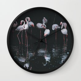 Flamingo Group in the Water Wall Clock