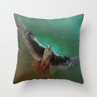 falcon Throw Pillows featuring Falcon by ED Art Studio