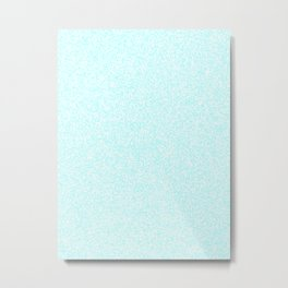 Spacey Melange - White and Celeste Cyan Metal Print