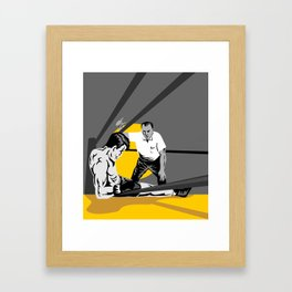 boxer knockout referee counting Framed Art Print