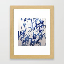 Kyu, japanese calligraphy inspired aquarell painting Framed Art Print