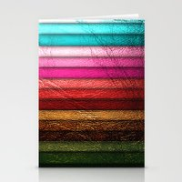 leather Stationery Cards featuring Chic Leather Glitter Stripes by Joke Vermeer