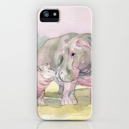 Colorful Mom and Baby Hippo iPhone Case