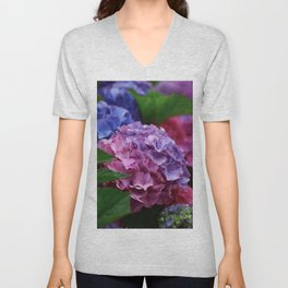 Colorful Rose Blue Lilac Hydrangea Hortensia Flower Unisex V-Neck