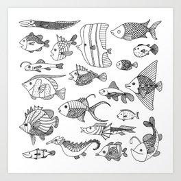 Arrangement of doodle fish Art Print