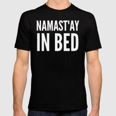 NAMAST'AY IN BED (Black & White) Black Mens Fitted Tee MEDIUM