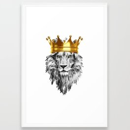 lion with a crown power king Framed Art Print