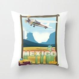 Mexico Desert vintage style travel Throw Pillow