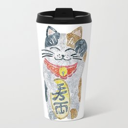 Watercolor Maneki Neko / Lucky Cat Travel Mug