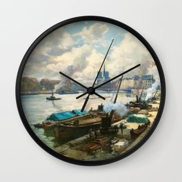 Notre Dame, River Seine, Paris Ile Saint-Louis with River Boats by Henri Alphonse Barnoin Wall Clock