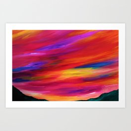 Pink Skyscape - Abstract Sky Oil Painting Art Print