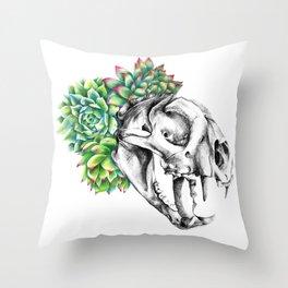 Rock Rose Cat Skull Throw Pillow