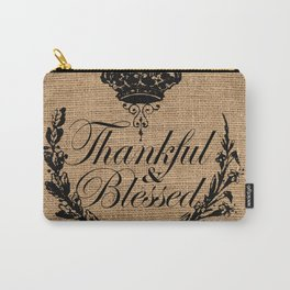 french country jubilee crown thanksgiving fall wreath beige burlap thankful and blessed Carry-All Pouch