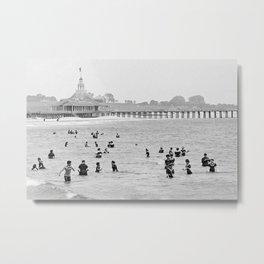 1895 Narragansett Pier and Beach, Narragansett, Rhode Island Metal Print