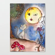 Love Cat and Moon Canvas Print