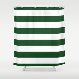 Jumbo Forest Green and White Rustic Horizontal Cabana Stripes Shower Curtain