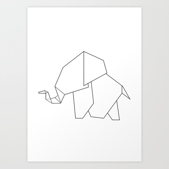 Origami Elephant Art Print By Jewelsandgraphicsberlin
