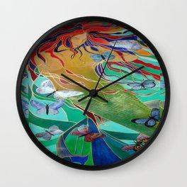 Mermaid and Butterflies Wall Clock