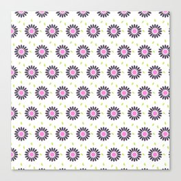 Hand painted black pink lime green floral daisies Canvas Print