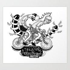 Tandem électrique Art Print