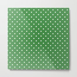 White Dots and Green Background Metal Print
