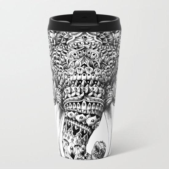 Ornate Elephant Head Metal Travel Mug