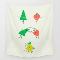 pineapple Wall Tapestries featuring Pineapple by I Love Doodle